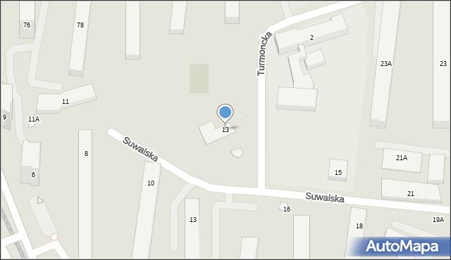 Warszawa, Suwalska, 13, mapa Warszawy
