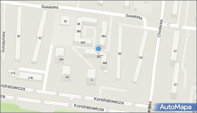 Warszawa, Suwalska, 36C, mapa Warszawy
