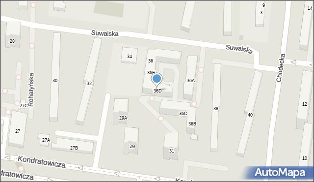 Warszawa, Suwalska, 36D, mapa Warszawy