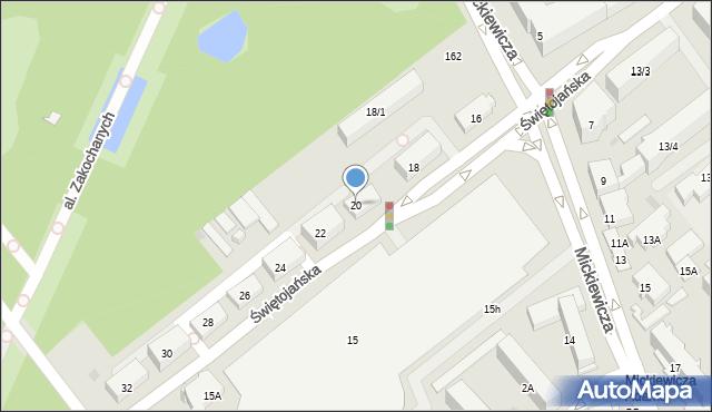 Białystok, Świętojańska, 20, mapa Białegostoku