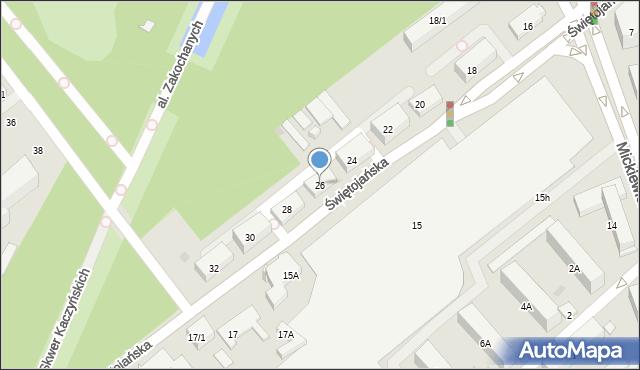 Białystok, Świętojańska, 26, mapa Białegostoku
