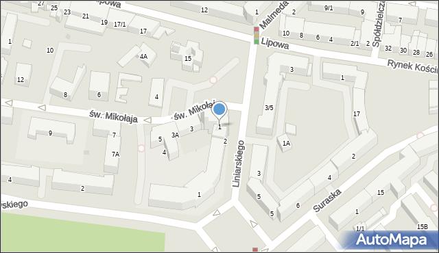 Białystok, św. Mikołaja, 1, mapa Białegostoku