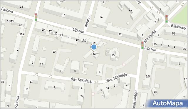 Białystok, św. Mikołaja, 4A, mapa Białegostoku