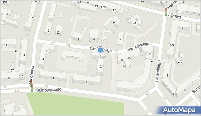 Białystok, św. Mikołaja, 7, mapa Białegostoku