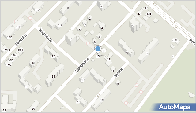 Białystok, Swobodna, 15, mapa Białegostoku