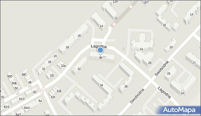 Białystok, Swobodna, 30, mapa Białegostoku