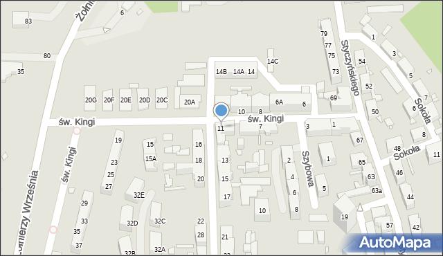 Chorzów, św. Kingi, 11, mapa Chorzów