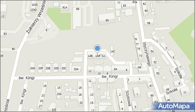 Chorzów, św. Kingi, 14A, mapa Chorzów