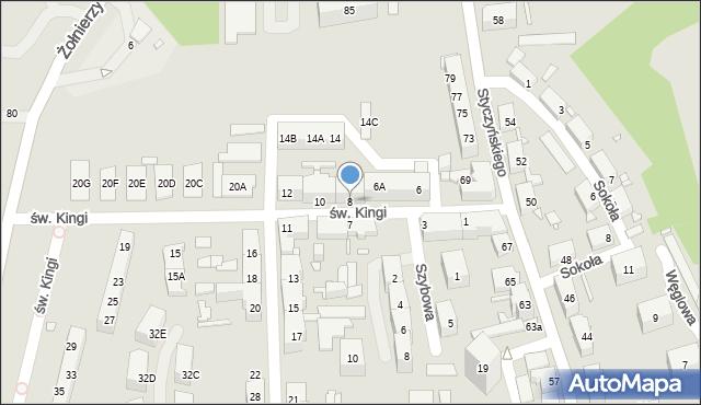 Chorzów, św. Kingi, 8, mapa Chorzów