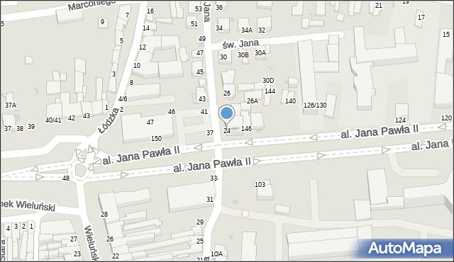 Częstochowa, św. Jana, 24, mapa Częstochowy