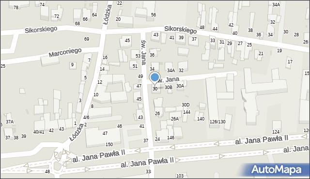 Częstochowa, św. Jana, 30, mapa Częstochowy