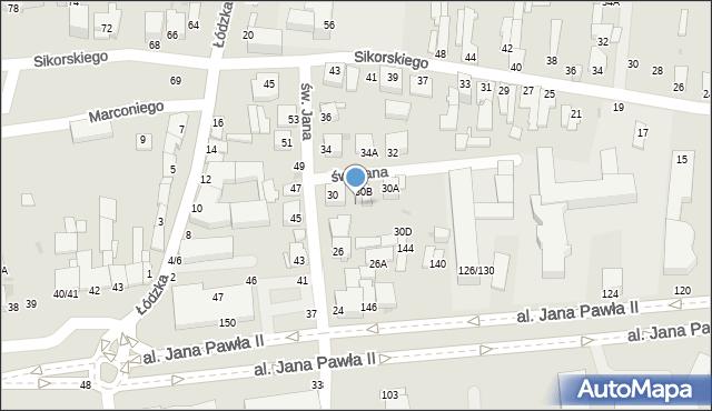 Częstochowa, św. Jana, 30c, mapa Częstochowy