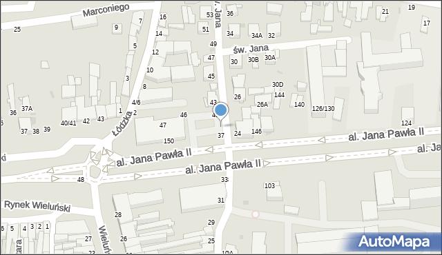 Częstochowa, św. Jana, 39, mapa Częstochowy