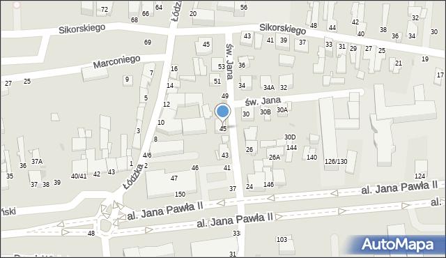 Częstochowa, św. Jana, 45, mapa Częstochowy