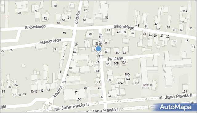 Częstochowa, św. Jana, 49, mapa Częstochowy