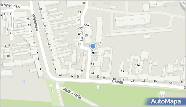 Częstochowa, św. Jana, 2B, mapa Częstochowy