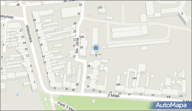Częstochowa, św. Jana, 6, mapa Częstochowy