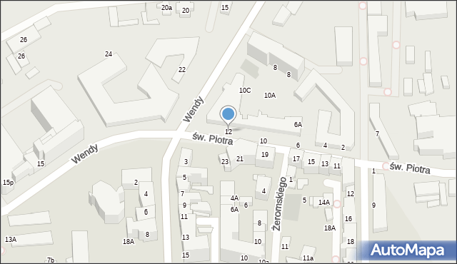 Gdynia, św. Piotra, 12, mapa Gdyni