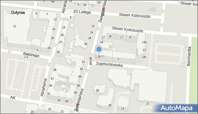 Gdynia, Świętojańska, 23, mapa Gdyni