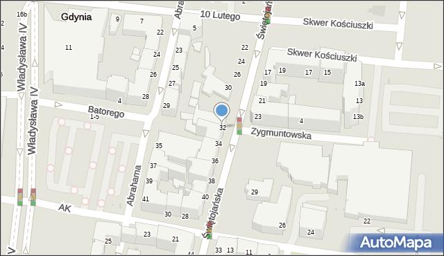 Gdynia, Świętojańska, 32, mapa Gdyni
