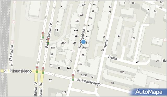 Gdynia, Świętojańska, 105, mapa Gdyni
