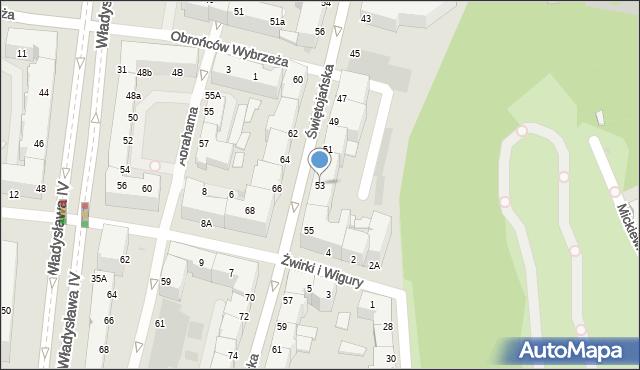 Gdynia, Świętojańska, 53, mapa Gdyni