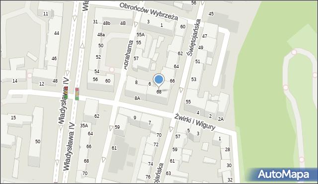 Gdynia, Świętojańska, 68, mapa Gdyni