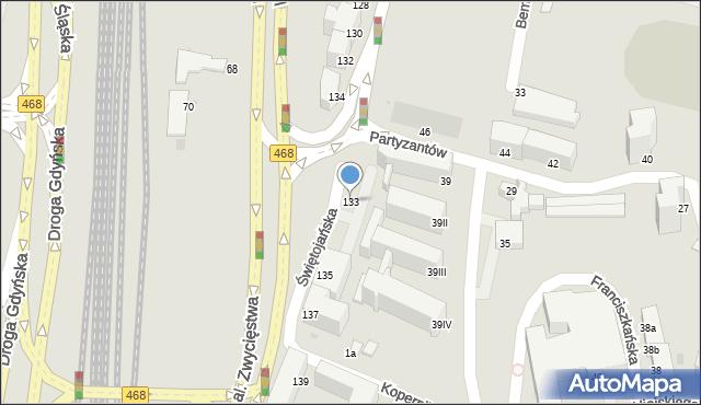 Gdynia, Świętojańska, 133, mapa Gdyni