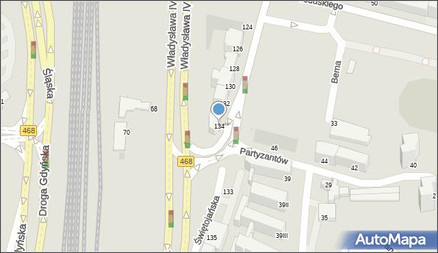Gdynia, Świętojańska, 134, mapa Gdyni