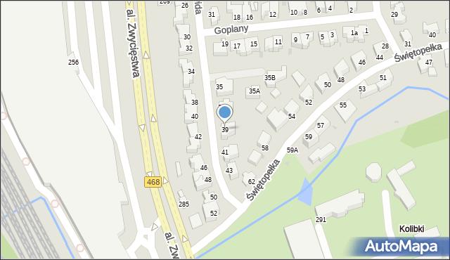 Gdynia, Światowida, 39, mapa Gdyni