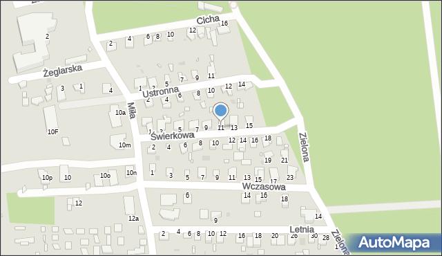 Grudziądz, Świerkowa, 11, mapa Grudziądza