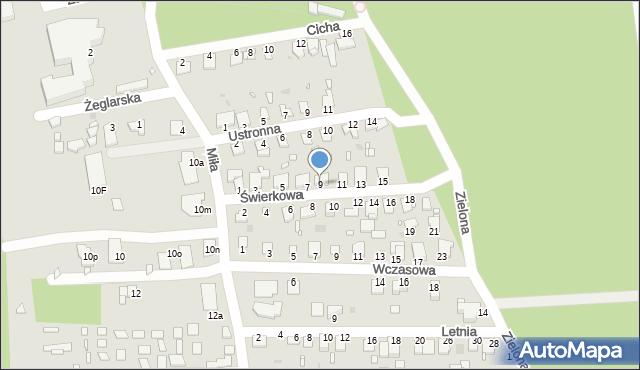 Grudziądz, Świerkowa, 9, mapa Grudziądza