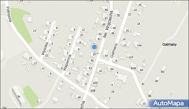 Jaworzno, św. Wojciecha, 57, mapa Jaworzno