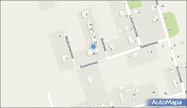Kochanowo, Świerkowa, 8, mapa Kochanowo