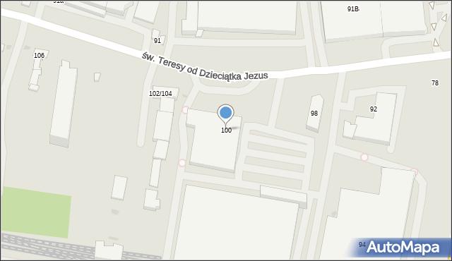 Łódź, św. Teresy od Dzieciątka Jezus, 100, mapa Łodzi