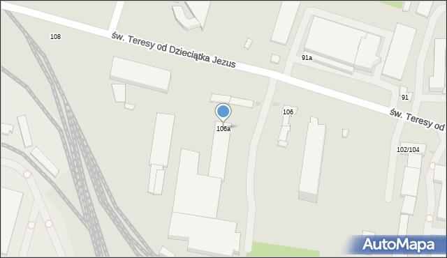 Łódź, św. Teresy od Dzieciątka Jezus, 106a, mapa Łodzi