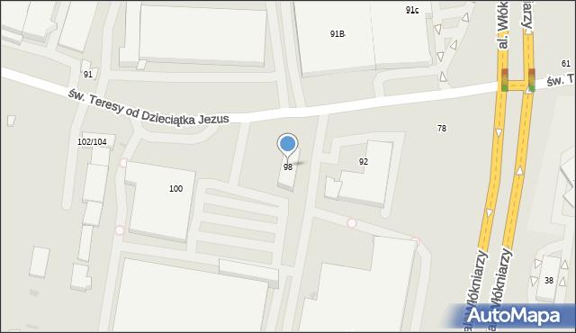 Łódź, św. Teresy od Dzieciątka Jezus, 98, mapa Łodzi