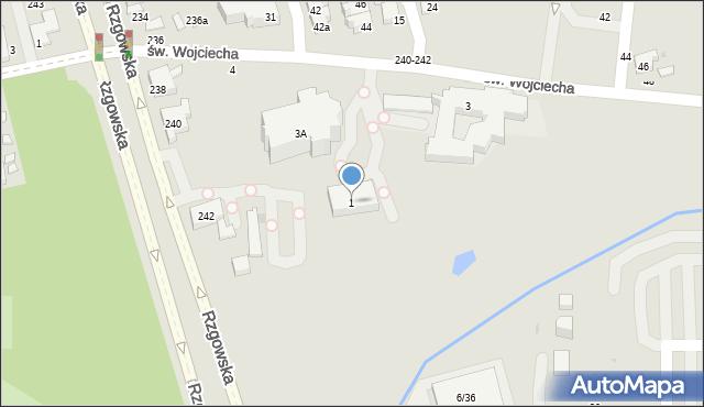 Łódź, św. Wojciecha, 1, mapa Łodzi