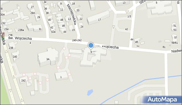 Łódź, św. Wojciecha, 3, mapa Łodzi