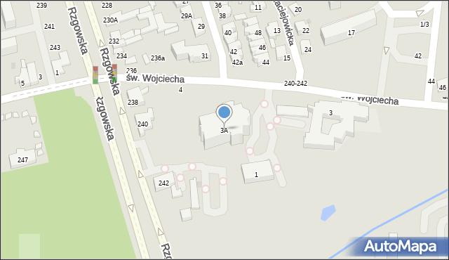 Łódź, św. Wojciecha, 3A, mapa Łodzi