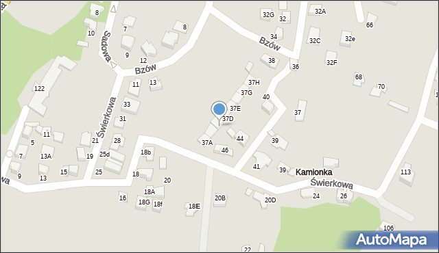Mikołów, Świerkowa, 37c, mapa Mikołów