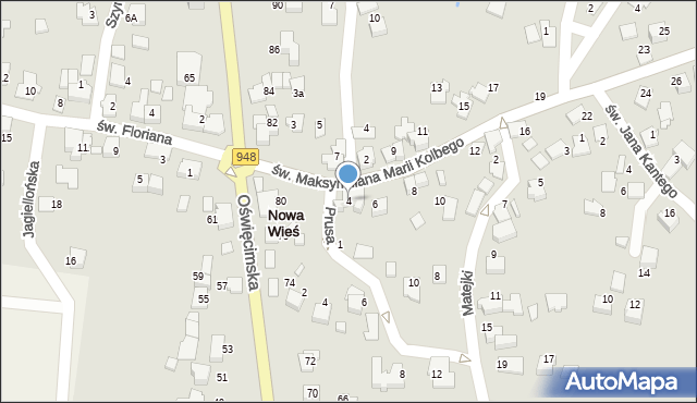 Nowa Wieś, św. Maksymiliana Marii Kolbego, 4, mapa Nowa Wieś