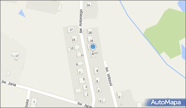 Robakowo, św. Antoniego, 12, mapa Robakowo