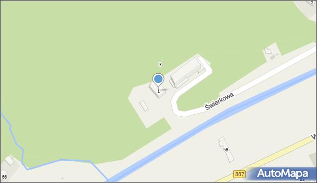 Rymanów-Zdrój, Świerkowa, 1, mapa Rymanów-Zdrój