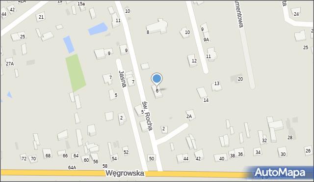 Sokołów Podlaski, św. Rocha, 6, mapa Sokołów Podlaski