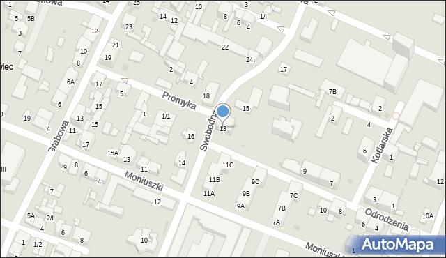 Sosnowiec, Swobodna, 13, mapa Sosnowca