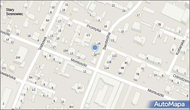 Sosnowiec, Swobodna, 14, mapa Sosnowca