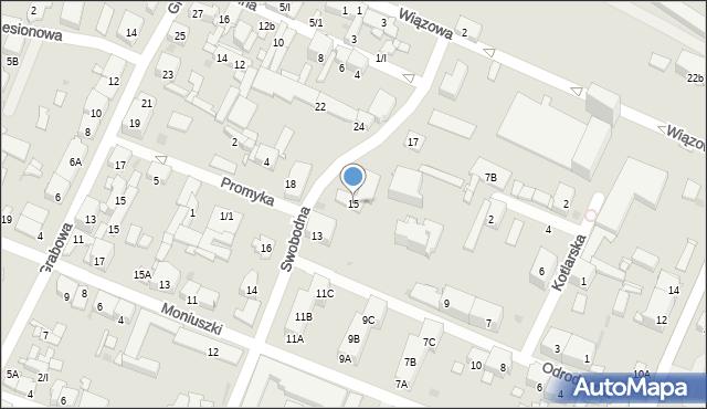 Sosnowiec, Swobodna, 15, mapa Sosnowca