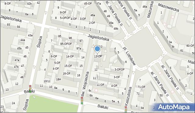 Szczecin, św. Wojciecha, 13-OF, mapa Szczecina