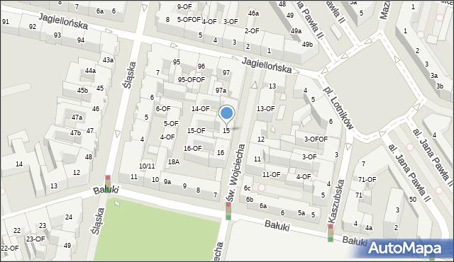 Szczecin, św. Wojciecha, 15, mapa Szczecina